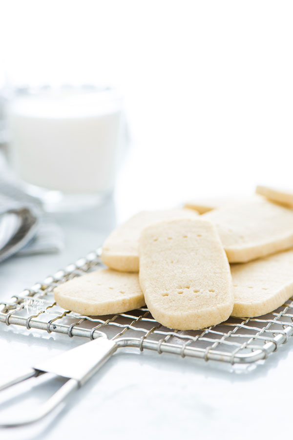 a pile of Gluten Free Shortbread Cookies on a small metal rack