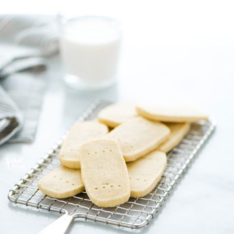 a pile of Gluten Free Shortbread Cookies on a small metal wire rack